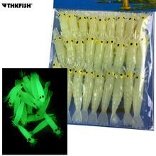 Светящиеся креветки, мягкие приманки, 27 шт., 1.7in Grub Worms, маленькие пресноводные Светящиеся в темноте креветки, мягкие приманки
