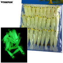 Glow Shrimps Soft Lure Baits 27 Pcs, 1.7in Grub Worms Small Freshwater Lighting in Dark Lures