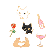 6pcs/set Black White Cats Rose Champagne Wineglass Heart Brooch  Jewelry Gift