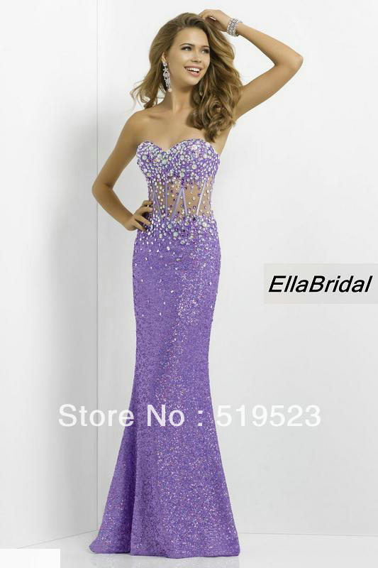 e9168e99bfd Stylish Sequined Purple Fabric Crystal Beaded Strapless Sweetheart See  Through Prom Dresses Prom Dress Gown-in Prom Dresses from Weddings   Events  on ...