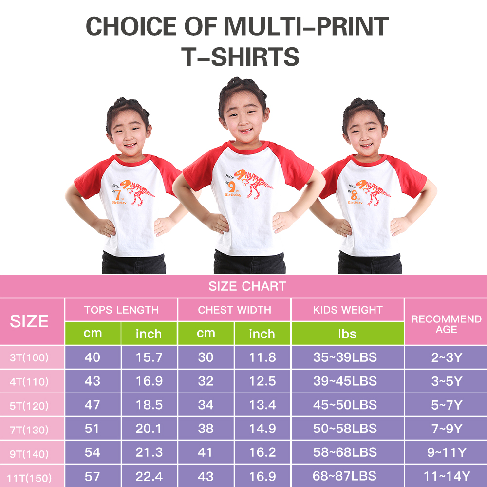 Girls Dinosaur Shirt O Neck Birthday Girl Tshirts Short Sleeves Kids Clothes Fashion Children Clothes Fashion Girls Tee Tops Par in Tees from Mother Kids