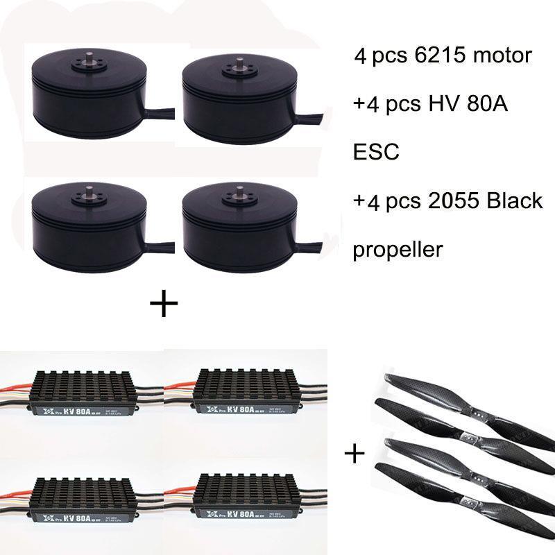 4 piezas 6215 170KV sin escobillas de Motor + 4 piezas HV 80A ESC + 4 piezas 2055 Hélice para RC avión