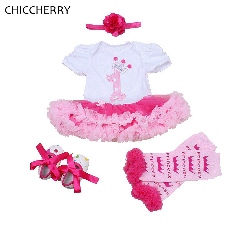 Summer 2018 Newborn Baby Girl Clothes 1st Birthday Outfit Lace Romper Dress Headband Leg Warmers Crib Shoes Infant Clothing Sets