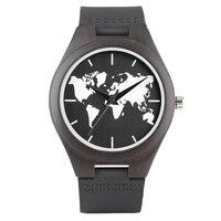 Moda Casual Bambu Ébano Mostrador do Relógio de Pulso Mapa Do Mundo Relógios Pulseira De Couro Geninue Banda Alça De Madeira Relógio De Quartzo Dos Homens do Sexo Masculino