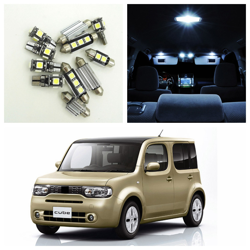 US $9 27 42% OFF|10pcs White LED Light Bulbs Interior Package Kit For 2009  2014 Nissan Cube Map Dome Trunk License Plate Lamp Nissan B 25-in Signal