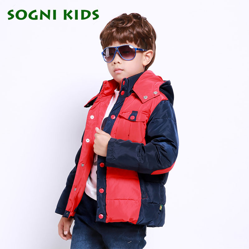 Children Boys Winter Duck Down Jacket Long Thickening warm Outerwear parkas Patchwork Hooded Kids baby boys