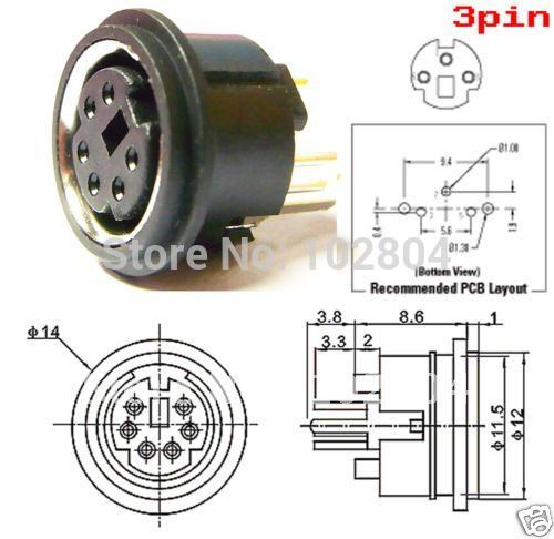 Mini 4 Pin Or 6 Pin 8 Pin Circular Pcb Mount Din Connector