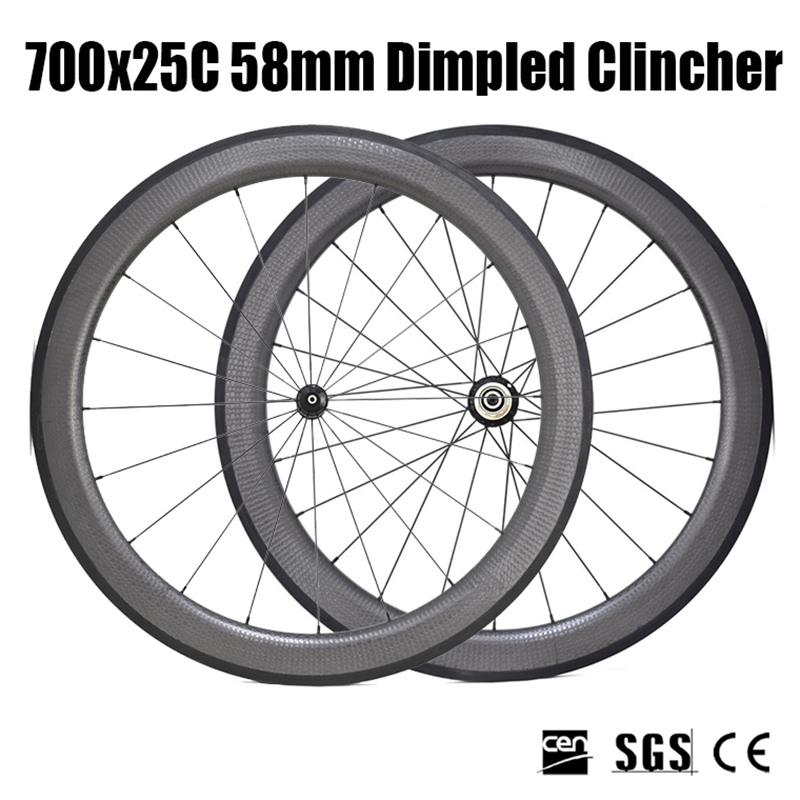 Catazer Road Bicycle 700x25C 58mm Dimpled Clincher Wheelset Full carbon wheels UD matte, with Basalt brake surface for Racer 700c carbon wheelset 50mm u shape wheels for bicycle 25mm tubular roue carbone pour velo route carbon bicycle wheel basalt brake
