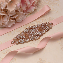 Yanstar Pearl Wedding Belt Flower Girl Rhinestones Belt Handmade Pearl Bridal Belt For Wedding Accessories 35WB899