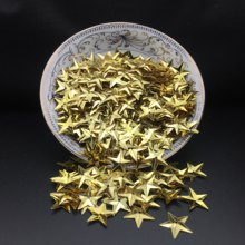 50g/lot 15mm Star Sequins Cup Loose Paillettes Wedding Crafts Kids DIY Accessories With 1 Middle Hole Light Gold Confetti(China)