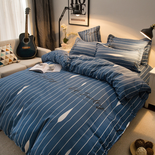 3 4pcs Bedding Set New Geometric Duvet Cover Flat Sheet Blue Stripe Bed Linen Leaf