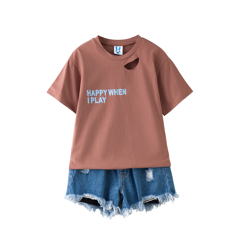 B-S172 New Fashion Summer Girls Casual Set 8-14T Kid Teenager Solid Color Set Kids Short Sleeve T-shirt+Jeans 2pcs Outfit Suit little j new fashion kids girl clothes set summer short sleeve love t shirt tops leather skirt 2pcs outfit children suit