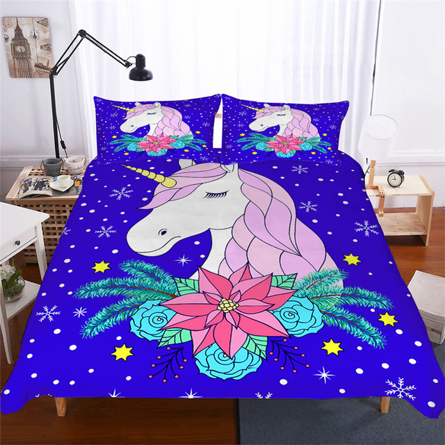 מצעי סט 3D מודפס שמיכה כיסוי מיטת סט Unicorn טקסטיל מבוגרים כמו בחיים מצעי עם ציפית # DJS02
