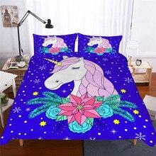 Juego de cama juego de edredón estampado 3D juego de cama unicornio Textiles para el hogar para adultos ropa de cama realista con funda de almohada # DJS02