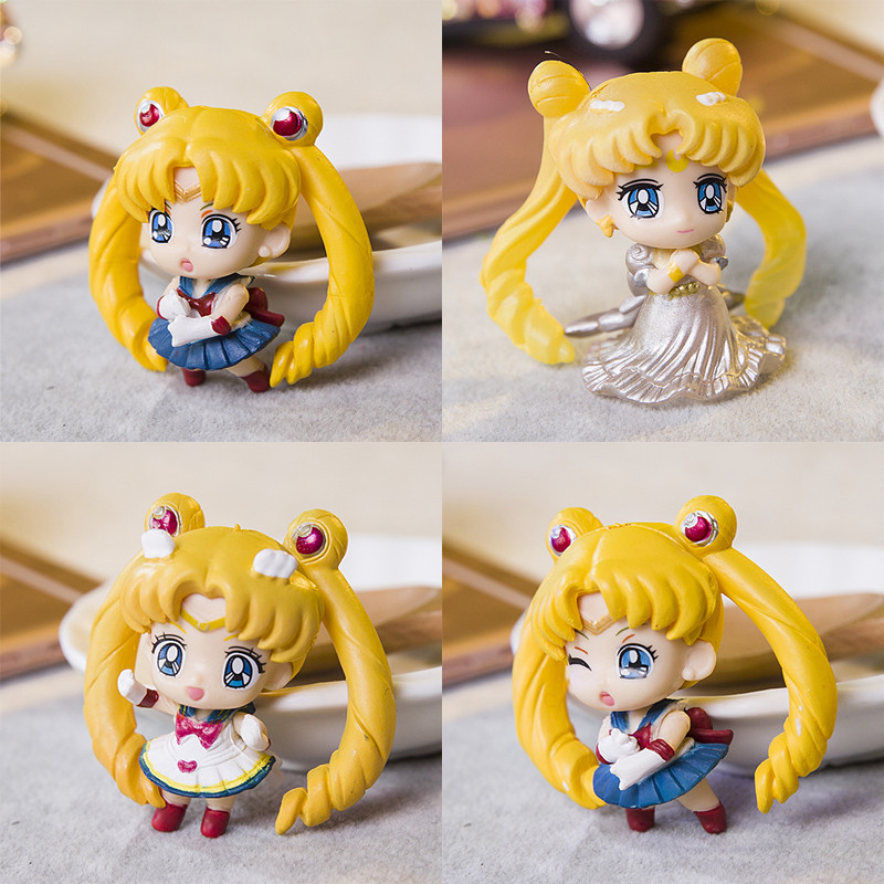 5pcs 4cm Anime Action Figure Toy Sailor Moon Usagi Tsukino, Sailor Moon Figure Model, Brinquedos, Toys For Girls