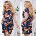 2017 nuevas mujeres de la marca 6xl más tamaño maxi dress vestidos por encima de rodilla mini dress imprimir o cuello del verano de flores de gran tamaño sexy recta