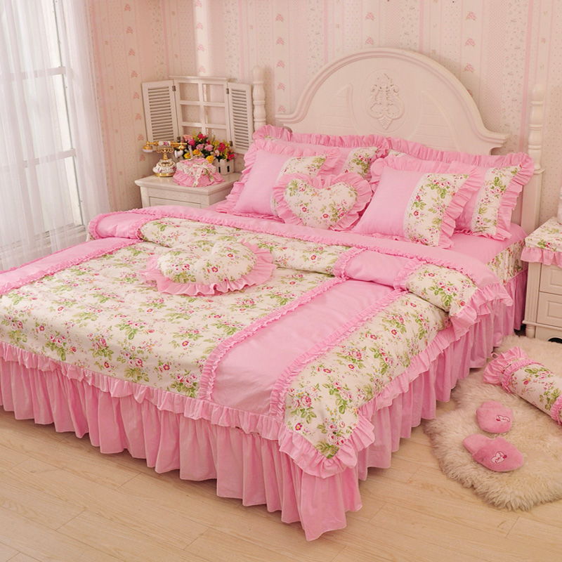 Luxury Pink Green Blue Ruffle Bedding Set Twin Full Queen King Size 100 Cotton Princess Wedding Home Textile Duvet Cover In Sets From
