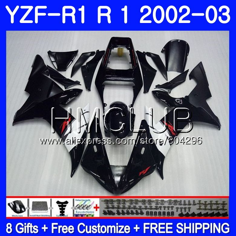 Corps noir Brillant Pour YAMAHA YZF-1000 YZF R 1 YZF 1000 YZFR1 02 03 109HM. 6 YZF1000 YZF R1 2002 2003 YZF-R1 03 02 Carénages Cadre
