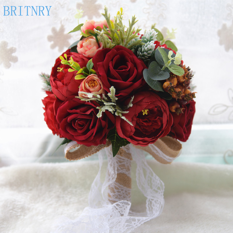BRITNRY 2018 Red Wedding Bouquet Handmade Rose Flower Bridal Bouquet Lace Brooch Bouquet