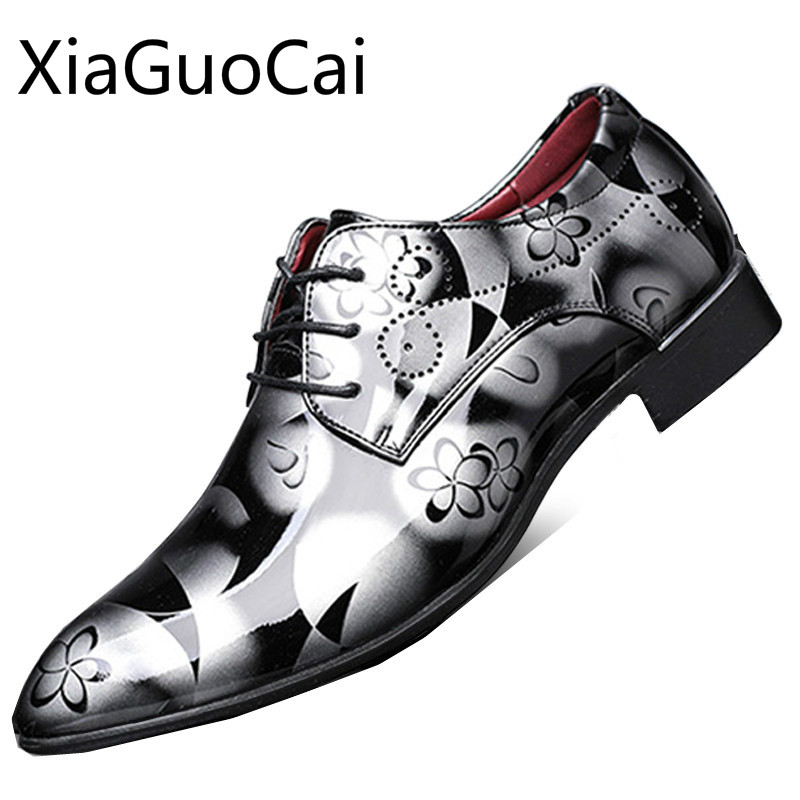 Pointed Toe Spring And Autumn Mens Formal Shoes Europe Style Cool Male Dress Shoes Pu Leather Party Flat Dress Shoes