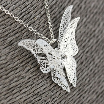 Wholesale New Fashion Women's Jewelry Butterfly Pendant & Necklace Chain Women Lovely Butterfly Pendant  Chain Necklace Jewelry