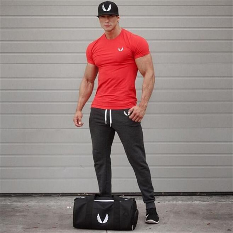 New gymshark mens brand fashion t shirt short sleeve Fitness shirts for men