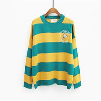 Harajuku 2016 Korean New Winter Casual Sweaters Cartoon Candy Colored Stripes Embroidery Loose Sweater Women Badminton
