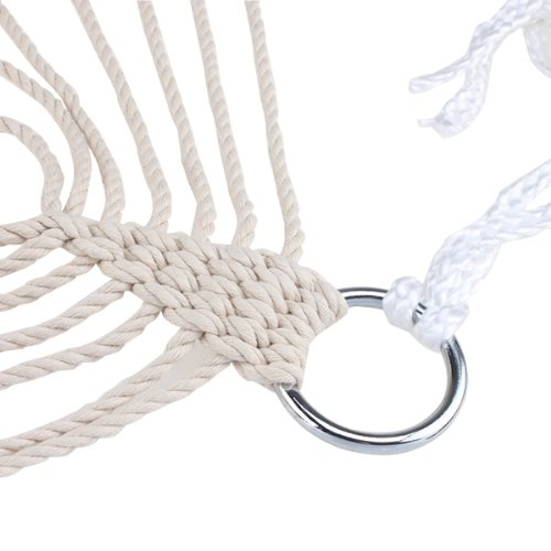 HGHO-White Cotton Rope Swing Hammock Hanging on the Porch or on a Beach