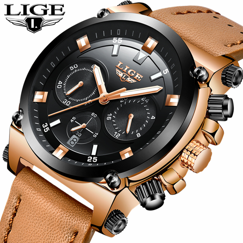 LIGE Fashion Sports Mens Watches Top Brand Luxury Quartz Leather Casual Watch Men Waterproof Military Watches Relogio Masculino weide top brand watches men quartz lcd digital fashion military casual sports watch luxury brand relogio outdoor wristwatches