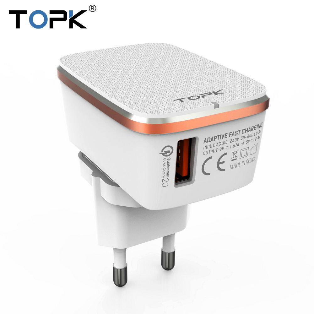 TOPK USB Charger EU&US 2-IN-1 Quick Charge 3.0 Fast Travel W