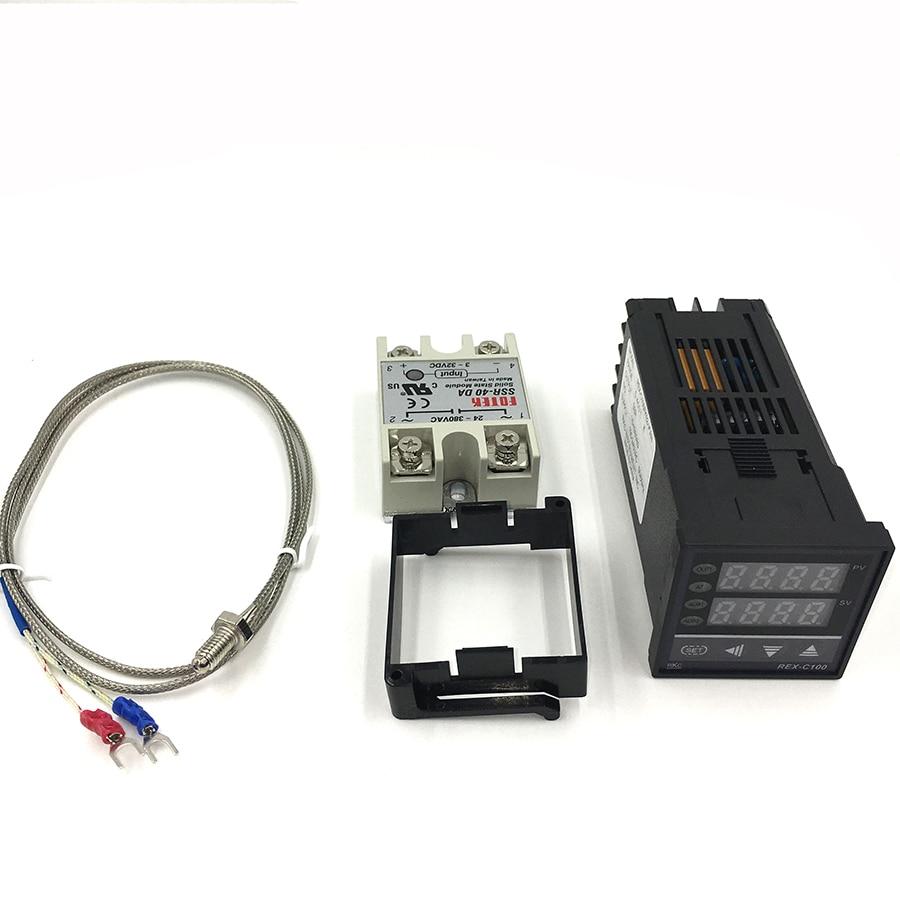 Digital RKC PID Thermostat Temperature Controller digital REX-C100 + 40A SSR Relay + K Thermocouple Probe