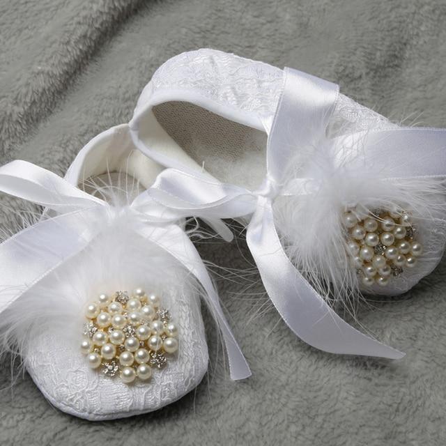 Baby Custom Beautiful Pearl Rhinestone Shoes Newborn Babies Soft Non-Slip Sole First Walker Bowknot Satin Footwear Crib Shoes