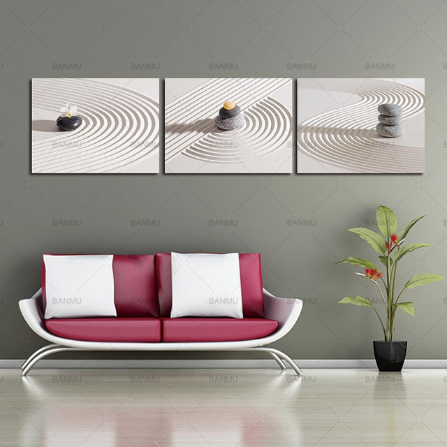 Zen Spa Stone Canvas Painting Wall Art Modern Print White Sand For Bedroom