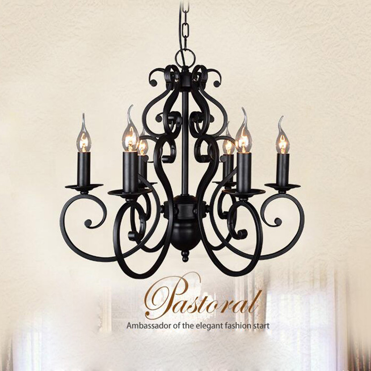 Vintage E14 black Style Iron Candle Wrought Lighting Fixtures Nordic Chandelier Candle Wrought Black iron Lighting