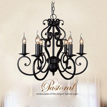 Vintage E14 black Style Iron Candle Wrought Lighting Fixtures Nordic Chandelier Black iron