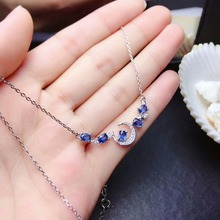 shilovem 925 silver sterling real Natural sapphire PENDANTS fine Jewelry trendy necklace plant new gift ml030487agl