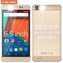 2017 Chaude Mobile Téléphone YUNSONG YS7pro 13MP téléphone 5.5 pouce écran Smartphone MTK6580 Quad Core Dual Sim de Téléphone portable GSM/WCDMA 3G