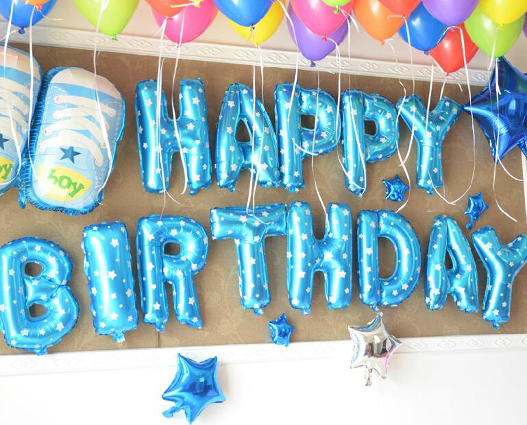 16inch 40cm blue dots shiny capital letter metallic foil mylar helium balloons for birthday wedding party
