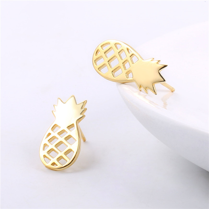 New design gold fashion earrings 925 Sterling Silver Cute Stud Earrings for Girls Hollow Pineapple Girl gifts