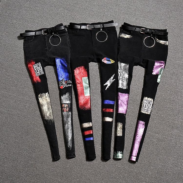 2018 autumn and winter new women fashion print high waist wide leg Pencil   pants   Girl Slim Trousers   Capris   stretch   pants