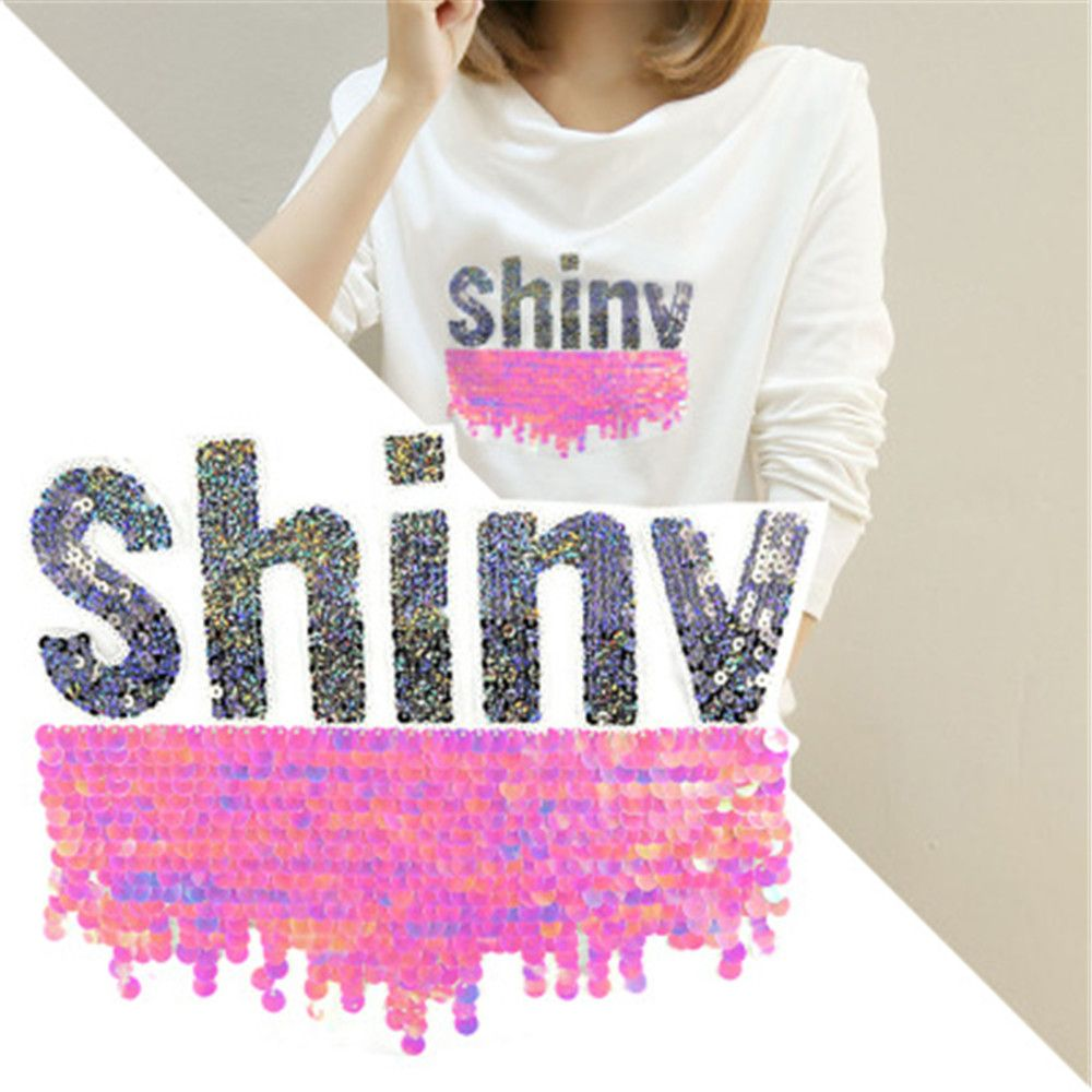 New 1pc Cute Letters Shape Reversible Change color Sequin Sew On ...