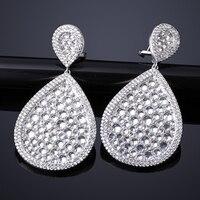 Của phụ nữ thả lớn bông tai màu trắng màu vàng với w/cubic zirconia thương hiệu thời trang dài dangle earrings đối wedding party Chic quà tặng