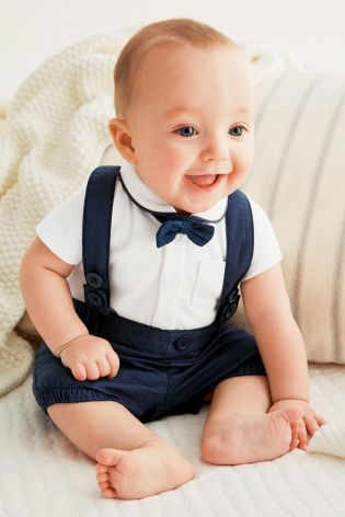 2017 New baby boy clothing fashion Gentleman modelling suit baby white short-sleeved T-shirt+strap pants 2/pcs baby boy clothes