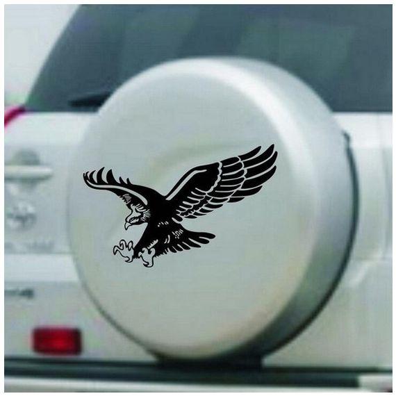 Eagle Pattern Reflective Material Car Stickers Car Engine Hood Decal Emblem black 50x50cm