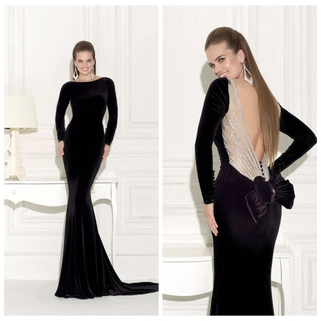 High Quality Grew Long Sleeve Bow Black Velvet Evening Dress Open Back Mermaid Prom