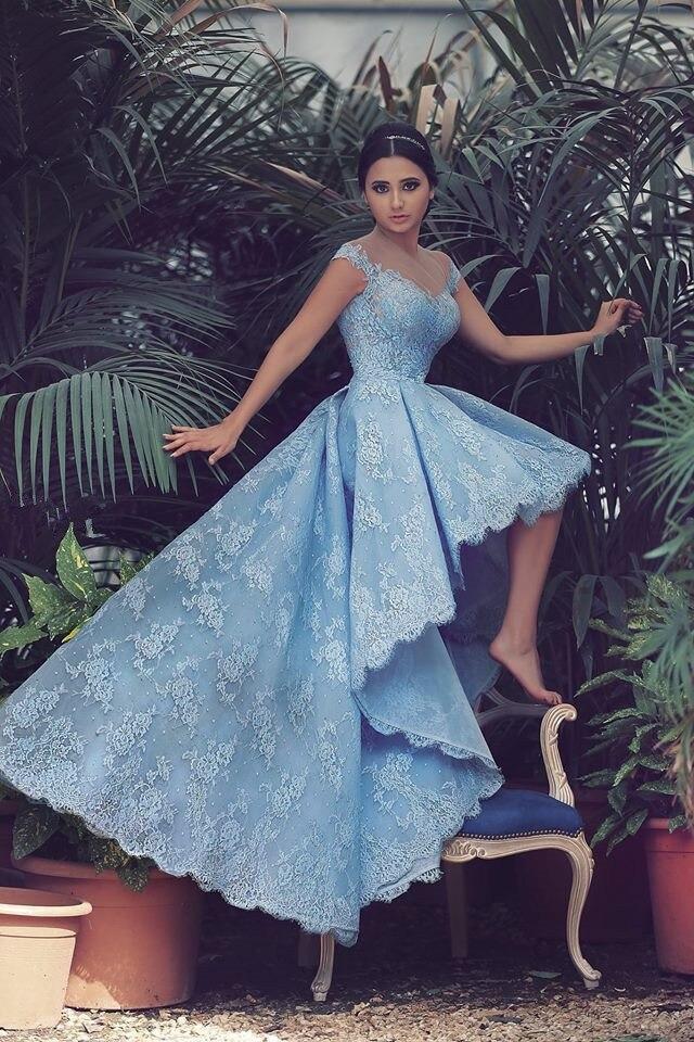 Newest Light Blue Prom Dresses High Neck Long Back Short
