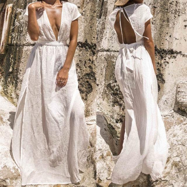 2019 Sexy Plunging Neck Open Back Beach Dress White Cotton Tunic Women  Summer Beachwear Plus Size Side Split Maxi Dress N681 b50b916c6f5d