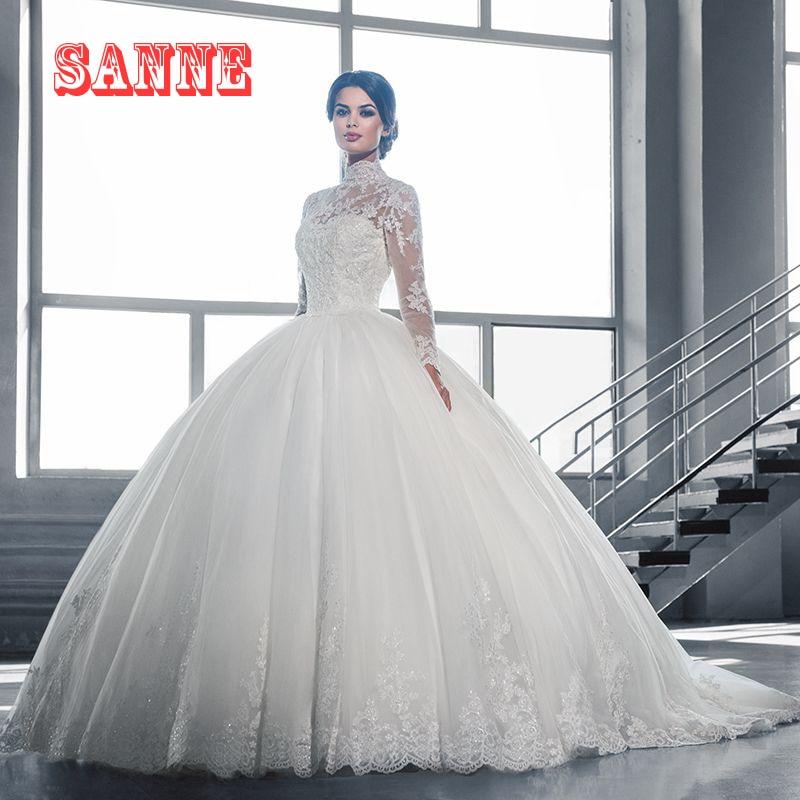 20521 Mode 2017 à Manches Longues Robe De Mariage Musulman Col Haut Avec Dentelle Applique Sweeptrain Robes De Mariée Robe De Bal Robe De Mariée