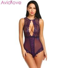 Crotchless Lace Mesh Teddy One Piece Bodysuit