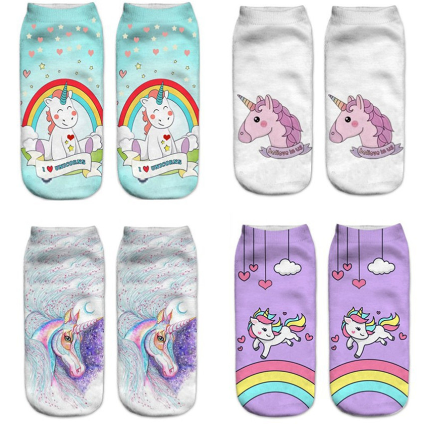 New Colorful Unicorn 3D Socks Hot Sale 3d Printed Unisex Boys Girls Socks Low Cut Ankle Short Funny Harajuku Ankle Licorne Socks женская футболка other 2015 3d loose batwing harajuku tshirt t a50